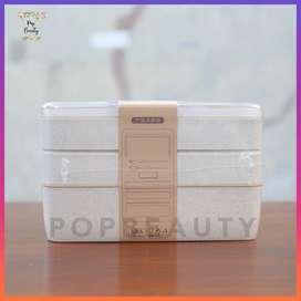 Lunch Box 3 Layers Freemir Wheat Straw Leakproof Bento - Kotak Makan