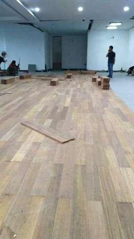Terima pasang lantai kayu merbau, jati, bengkirai dll