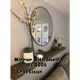 Functional round mirror with floating shelf