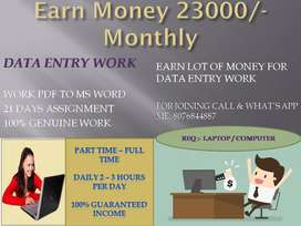 Work for EARN EXTRA INCOME by data entry job