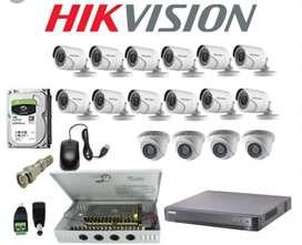 Paket lengkap 16 kamera cctv Hikvision 2Mp Gratis pasang terima beres.