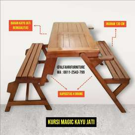 kursi magic taman, kursi magic kayu jati