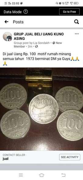 Uang Rp. 100  motif rumah minang  semua tahun  1973