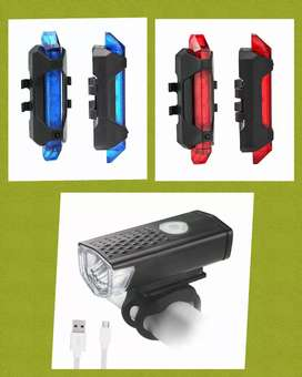 Lampu sepeda depan & belakang rechargeable