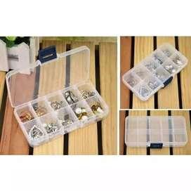 Tempat obat 10 sekat Pill case kotak kancing,manik multifungsi