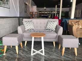 soffa tamu Minimalis, meja bundar, bisa custom warna