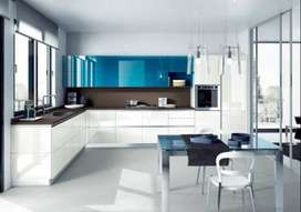 Royal Blue and white acrylic kitchen ktc-716_13psqft