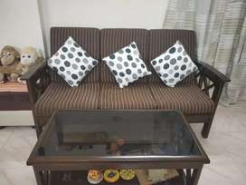 Teak wook sofa set 3+2 + Table