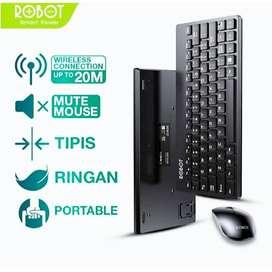 Robot Wireless Keyboard & Mouse Portable KM3000 Original Hitam 1 Set
