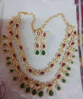 New Ruby Emerald stone Necklace with Ear rings