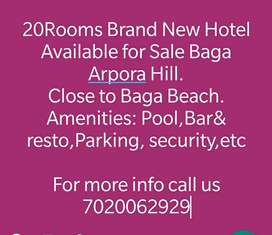 20Rooms New Hotel for Sale at Baga with Pool,Parking Bar&Resto.