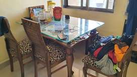 Glass top wooden Dining Table with 4 chair