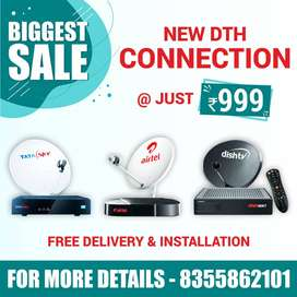 Brand New DTH Connection Tata Sky,Dish TV,Airtel DTH Best Offer Price.