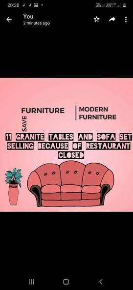 Sofa and dining tables