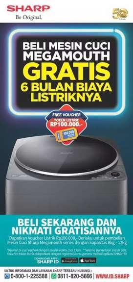 Promo mesin cuci sharp otomatis 8kg