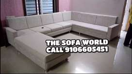 Get strong quality white sectional C shape sofa available