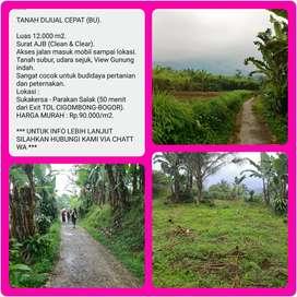 Tanah subur pemandangan bagus 12.004m2, 50menit dr TOL CIGOMBONG-BOGOR