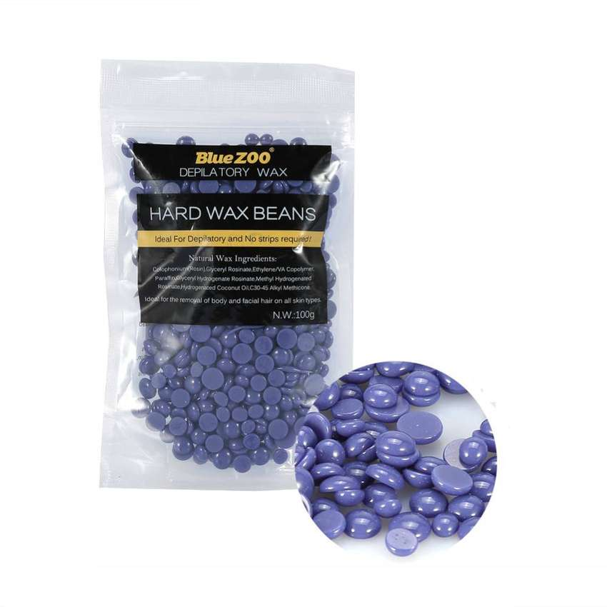 BlueZoo Painless Hair Removal Hard Wax Beans Lavender 100 grams 0
