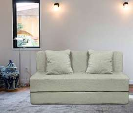 Sofa cum bed 6x3 with cushion and soft cotton vlvet touch fabric