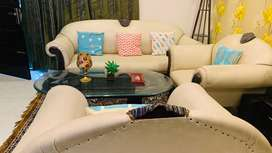 5 seater Sofa set with glass top centre table