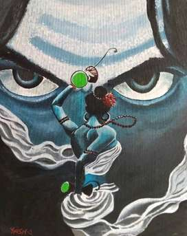Tandav in front of shiva painting