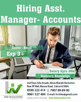 Hiring Assistant Manager Accounts