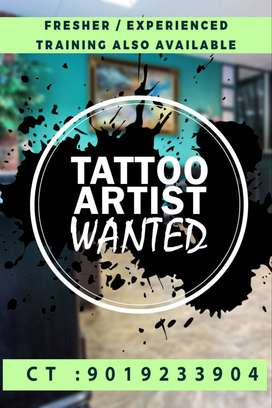 Wanted Tattoo Artist Fresher or Experienced Training will be provided