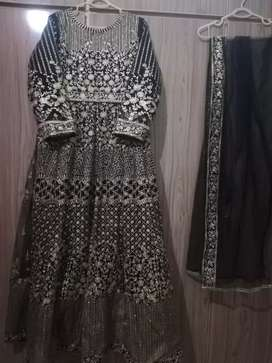 Black Embroidered Net Maxi