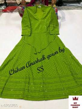 New Pure cotton chikan anarkali gowns