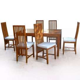Set kursi makan meja cafe restoran minimalis modern kayu jati