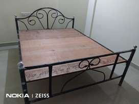 Queen size iron cot with mattress