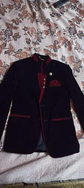 Black and Maroon Velvet Blazer