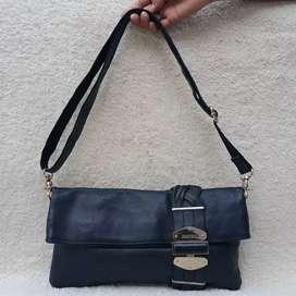 Jimmy Choo hitam kulit asli tebal sling bag