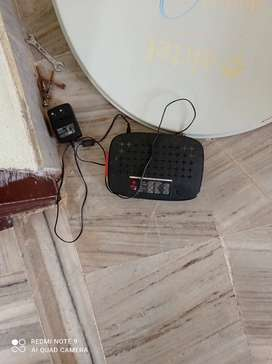Airtel DTH Setup box with Antena kit with around 20mtrs wire