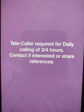 Tele-caller required for daily calling of 3-4 hours.  Contact
