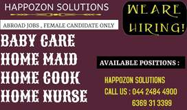 FEMALE - Baby Care , Maid , Home Nurse , Home Cook வெளிநாட்டில் வேலை