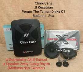 (••,) subwoofer aktif sansui dan speaker 2way cubig rhytm