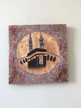 Kaaba textured and gold leaf painting