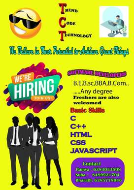 We are hiring freshers for software development and web development