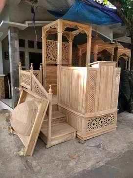 Mimbar masjid kayu jati full
