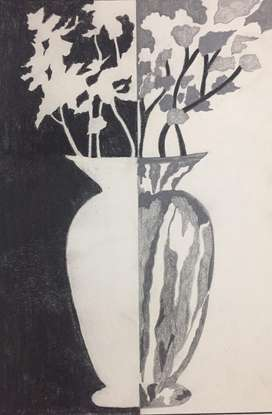Vase charcoal drawing for sale A3 size