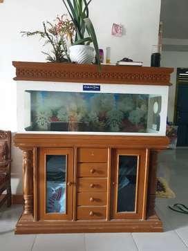 Aquarium set lengkap dgn lemari bawahnya