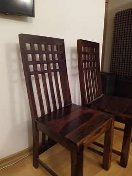 Solid Wood, High Back, Almost New Dining Chairs with moveable Cushions