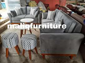 sofa retro double kayu 32 plus stool dan meja