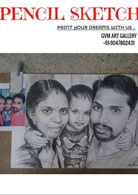 pencil sketch portraits at Gvm Art gallery