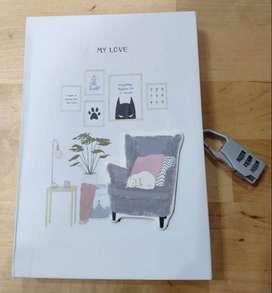 Buku Tulis Diary Gembok Angka Serbaguna Karakter Kucing Kode 1 A5