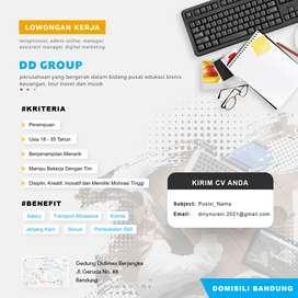 Lowongan Kerja Admin Online / Bandung, Jakarta, Pekanbaru, Yogyakarta