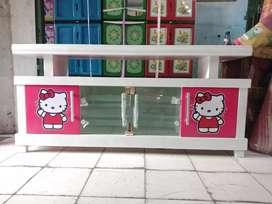 Meja TV / Bufet TV pendek berkarakter hellokity warna pink putih