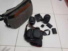 Canon 60 D + lensa kit + lensa canon 50mm  f 1.4
