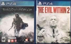 Jual BD ps4 evil within 2 dan shadow of mordor